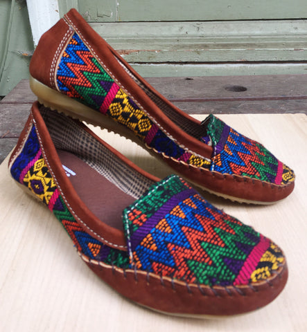 Bright multicolor, Guatemalan textiles, handmade, loafers