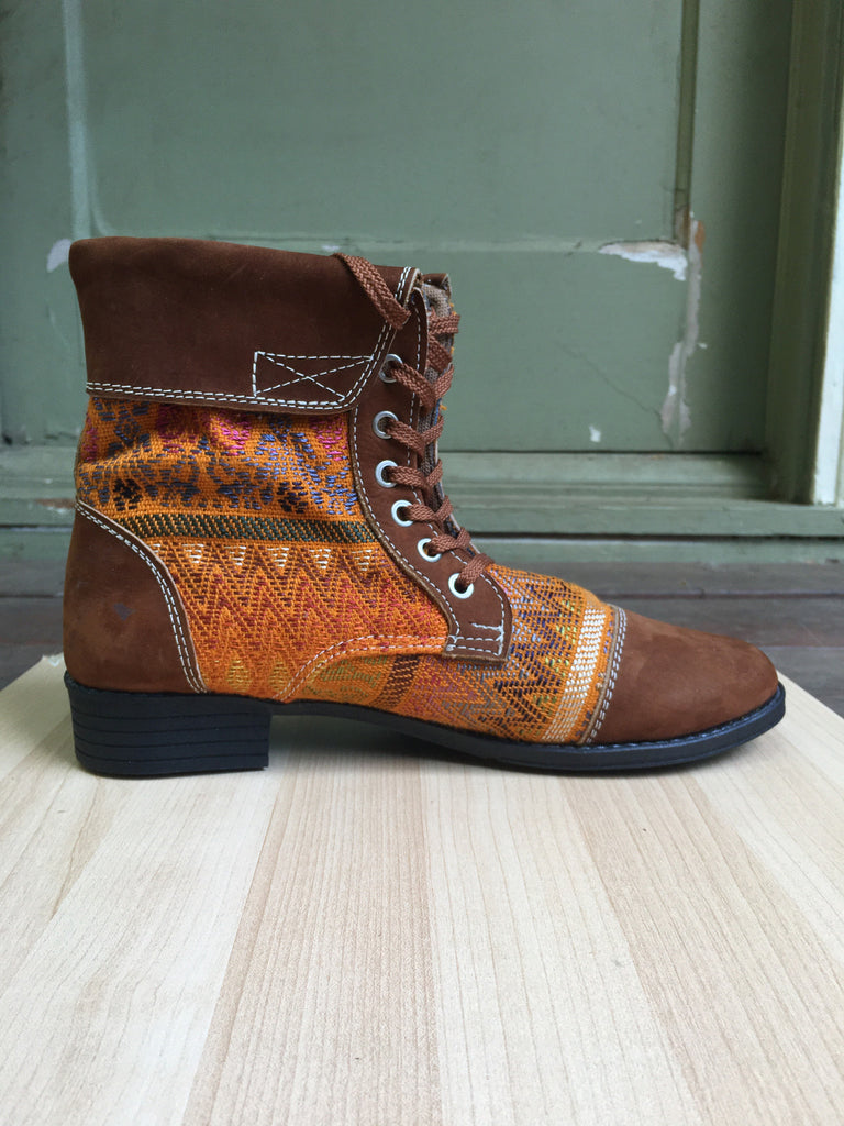 Fold over, yellow, handmade, hand woven, boots