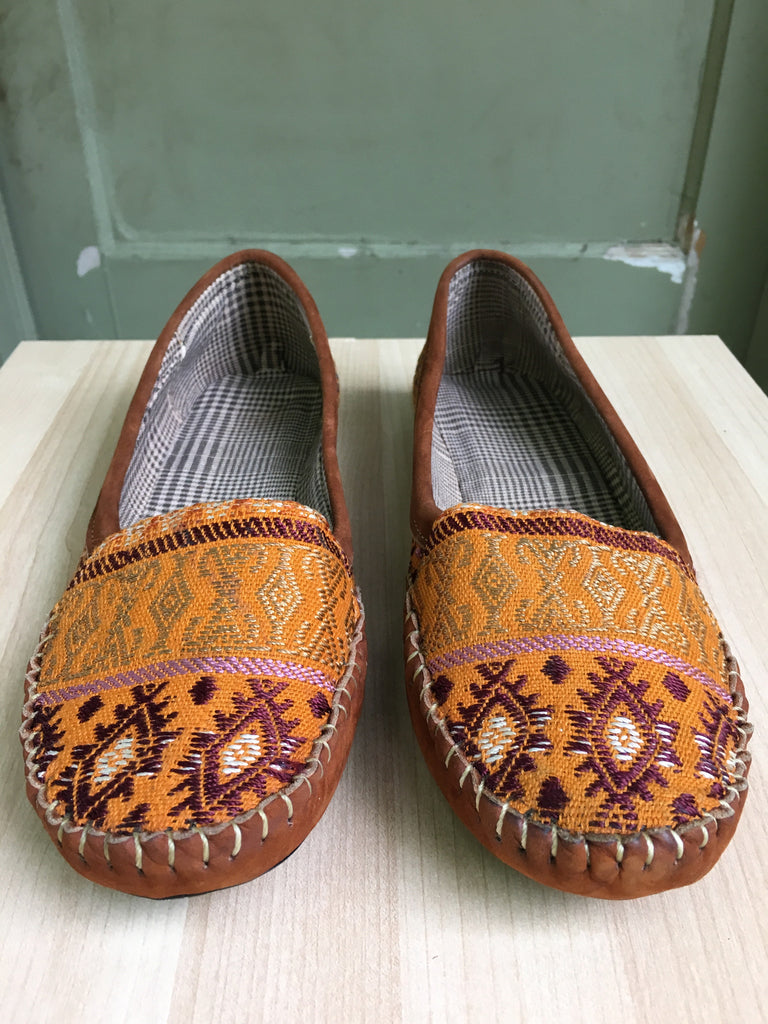 Yellow mustard, Mayan textiles, handmade, loafers, Moccassins, Rombo