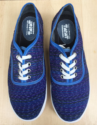 Blue tied sneakers, handmade, Guatemalan textiles