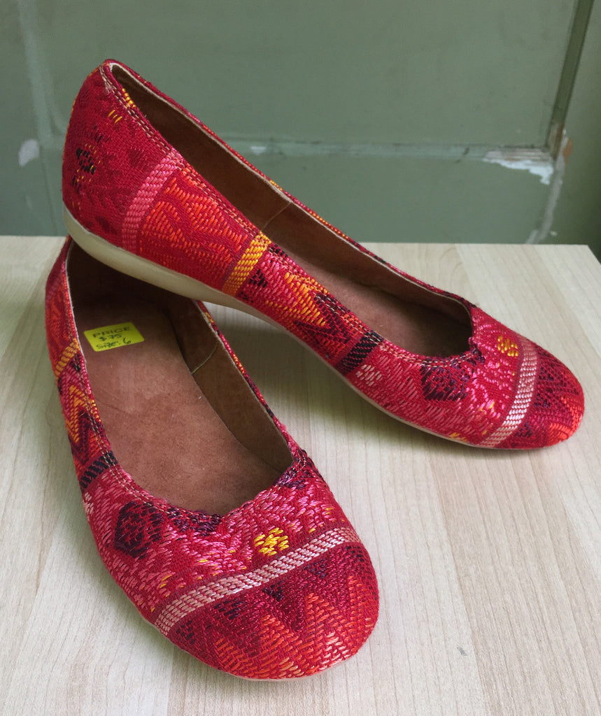 Bright red, hand embroidered, Guatemalan textiles, flats - Milena's Corner