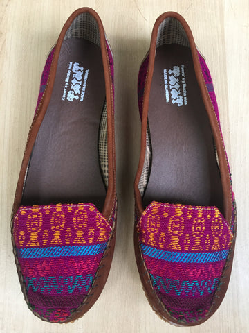 Plum tones, Guatemalan textiles, loafers, moccasins