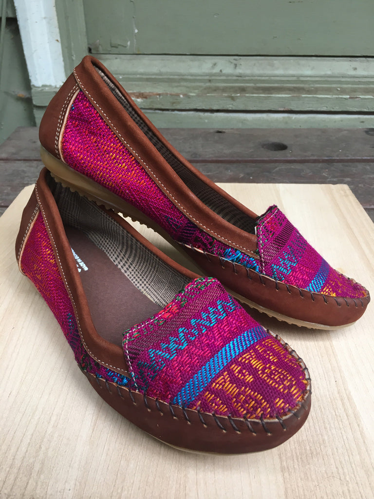 Special plum tones, Guatemalan textiles, loafers, moccassins