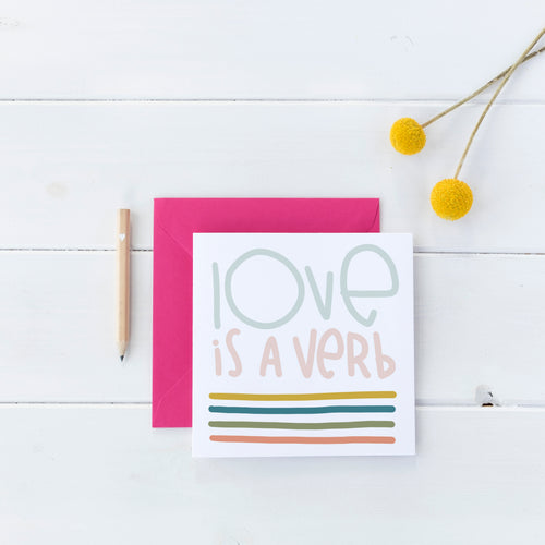 Love is a Verb Square Stickers