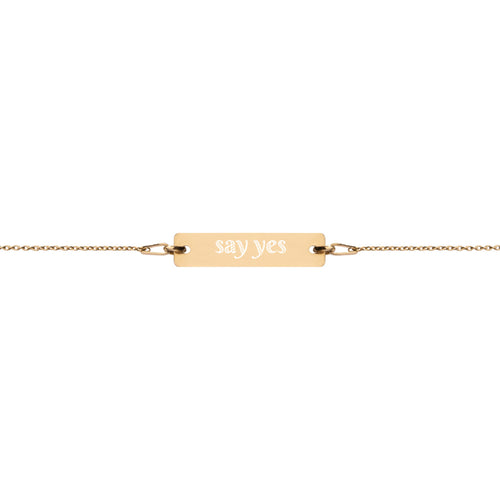 say yes Engraved Silver Bar Chain Bracelet