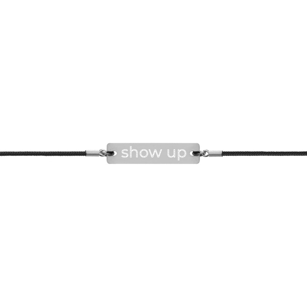 show up Engraved Silver Bar String Bracelet