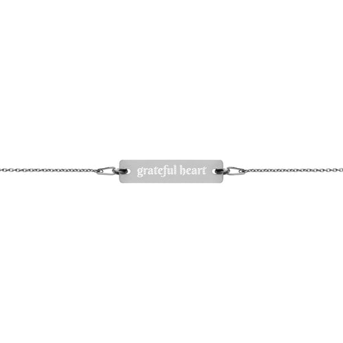 grateful heart Engraved Silver Bar Chain Bracelet