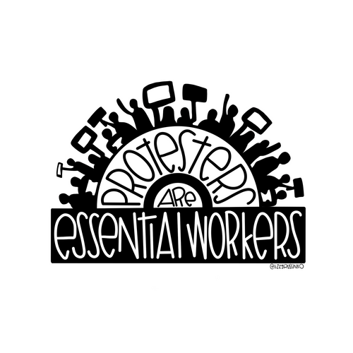 Protesters are Essential Workers Sticker (free US shipping)