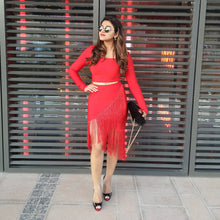 Load image into Gallery viewer, Red Tassel Bodycon Dress