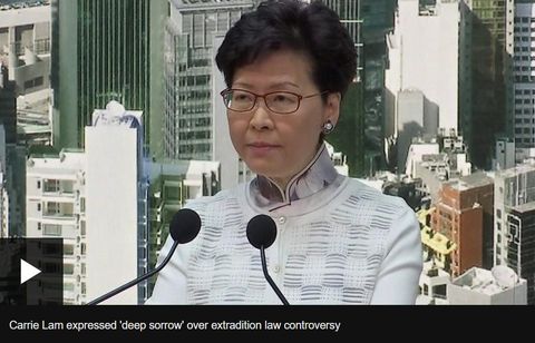 Figure 3: Chief Executive Lam apologizes and temporarily withdraws the extradition amendment. (BBC)
