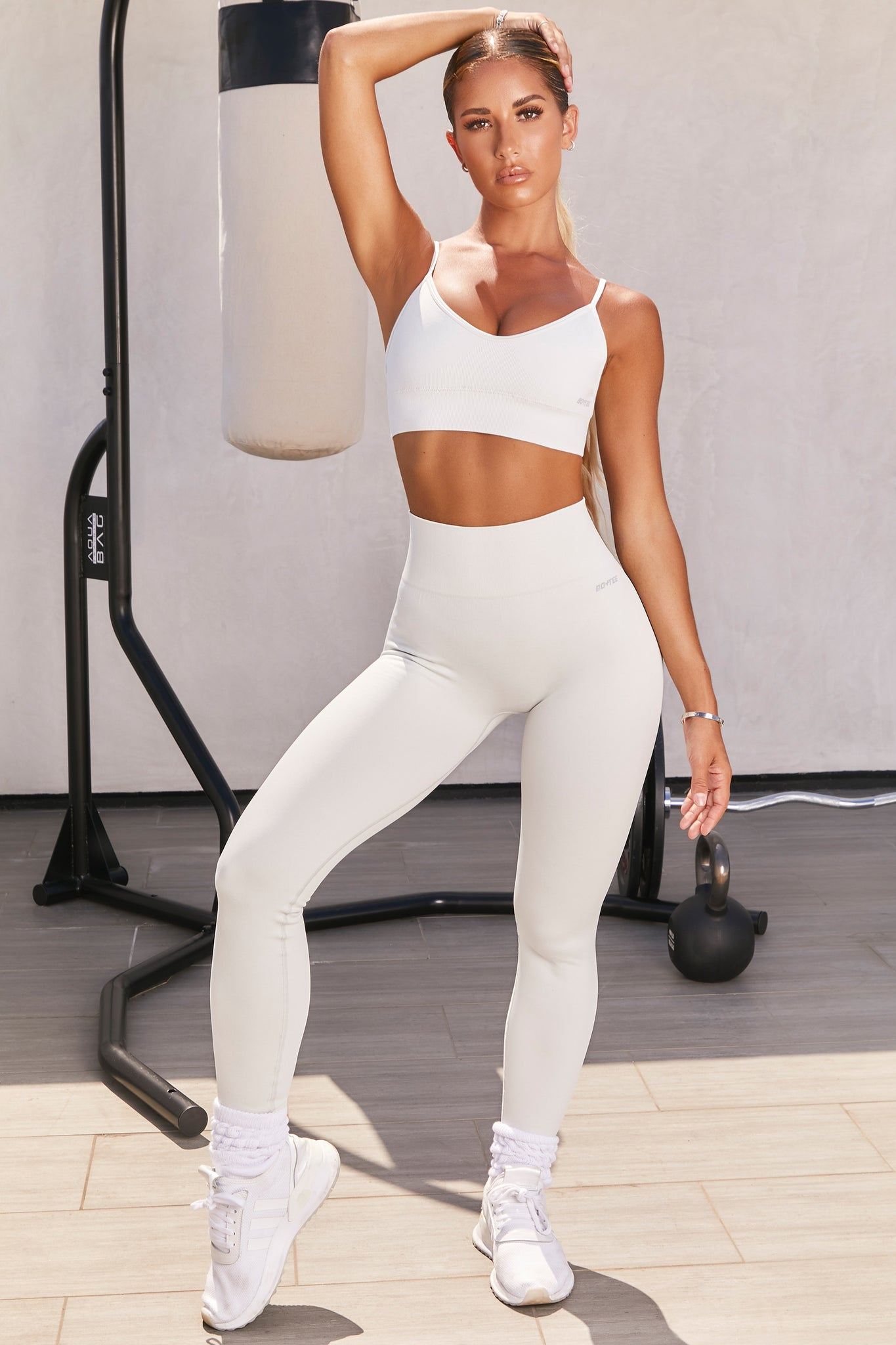 Plain light grey seamless high waisted full length gym leggings. Image 1 of 6.