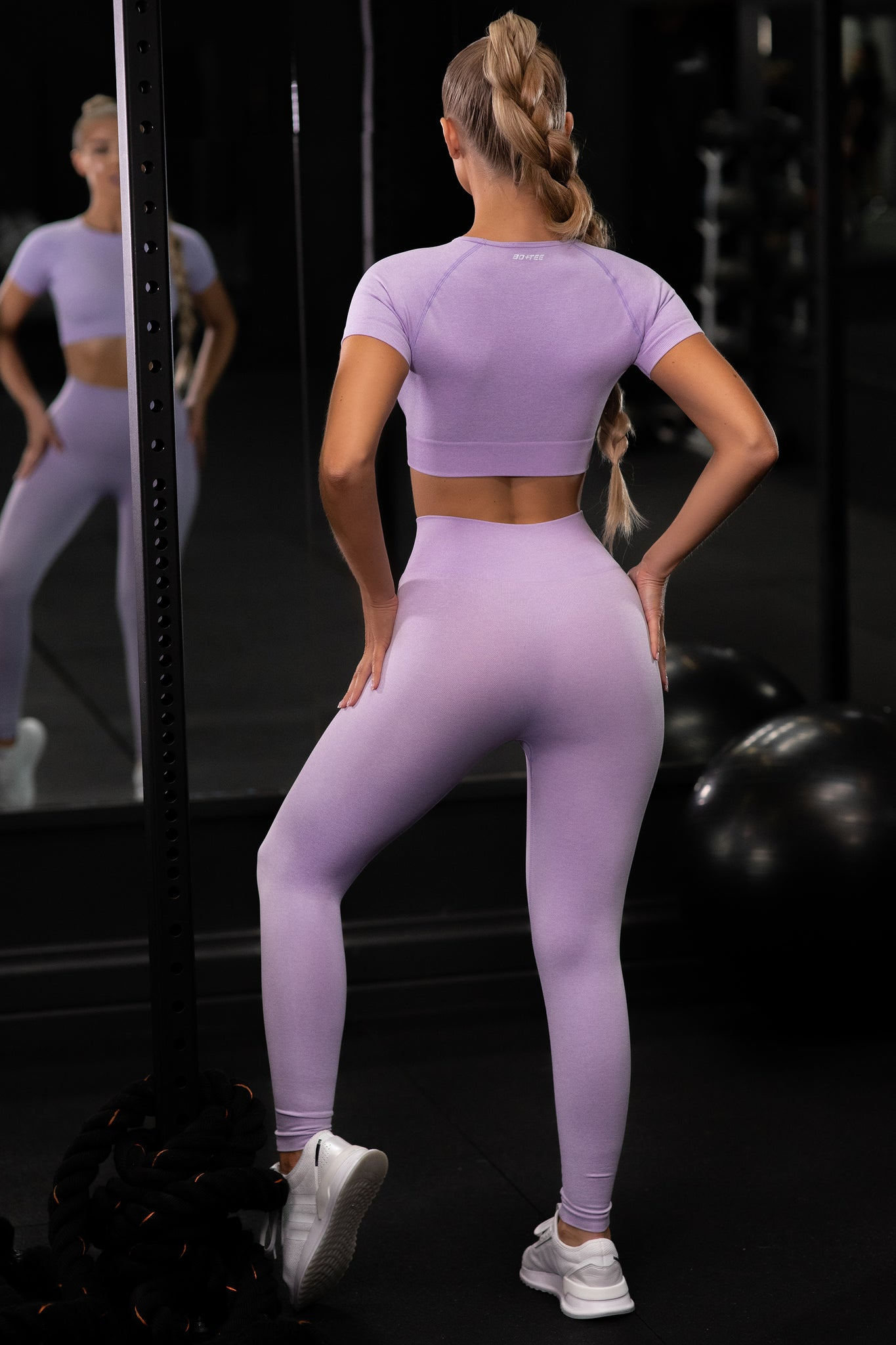 Plain lilac seamless high waisted full length gym leggings. Image 3 of 6.