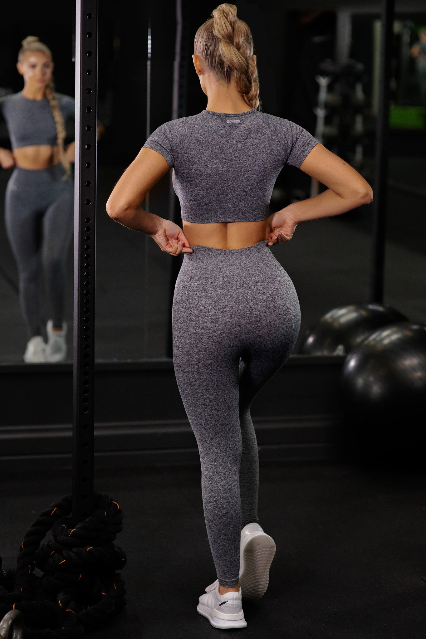 Plain black marl petite seamless high waisted full length gym leggings. Image 3 of 6.