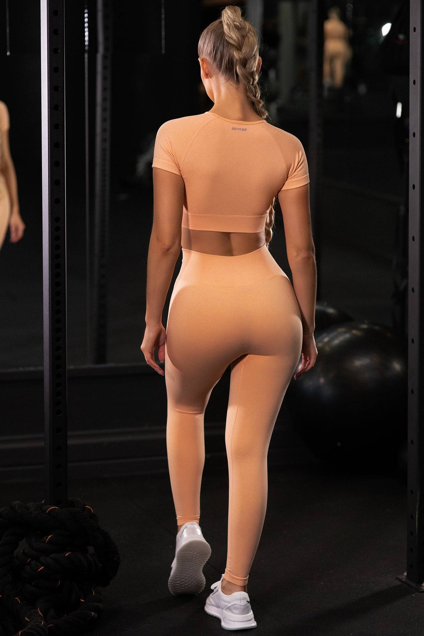 Plain peach seamless high waisted full length gym leggings. Image 3 of 6.