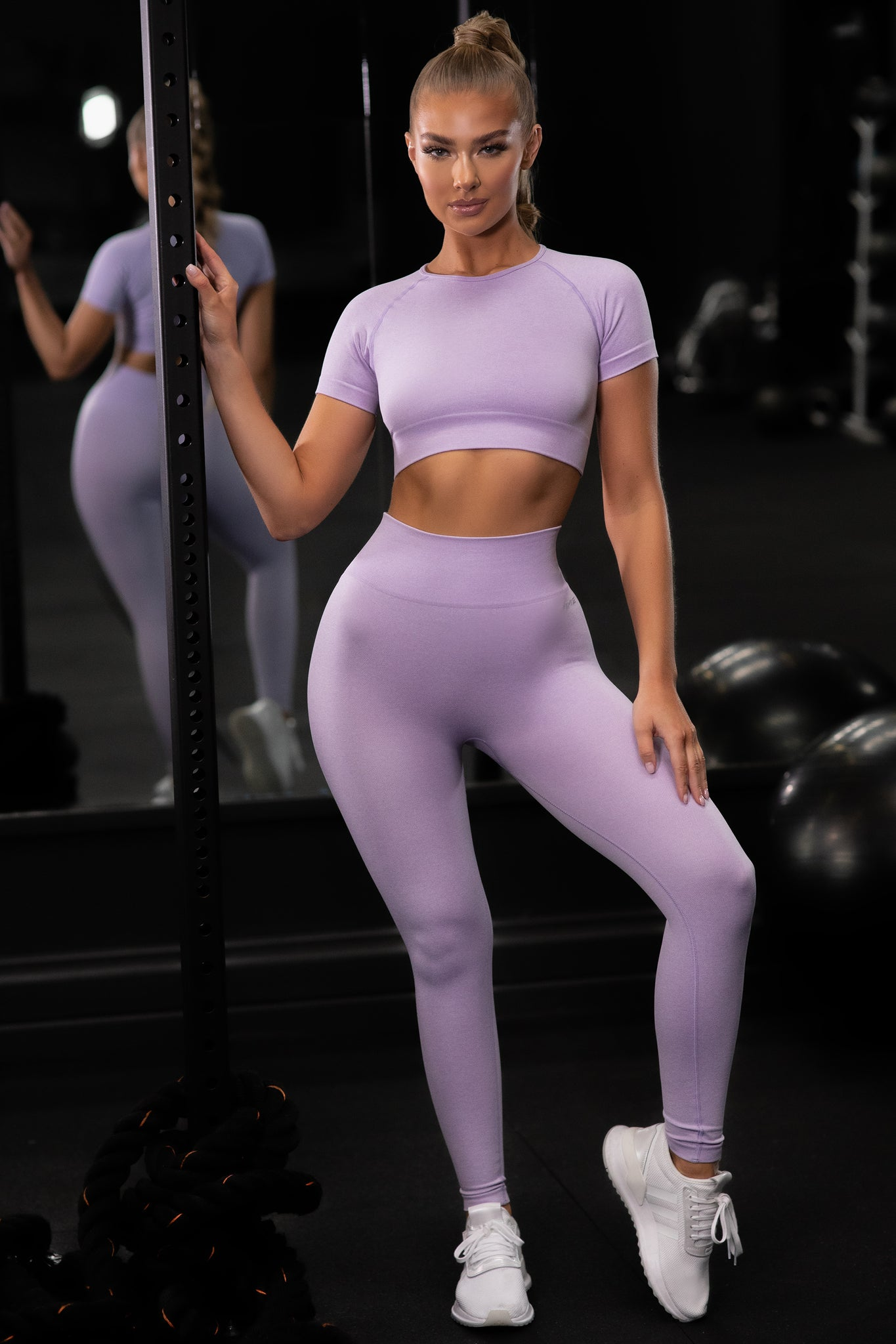 Plain lilac seamless high waisted full length gym leggings. Image 1 of 6.