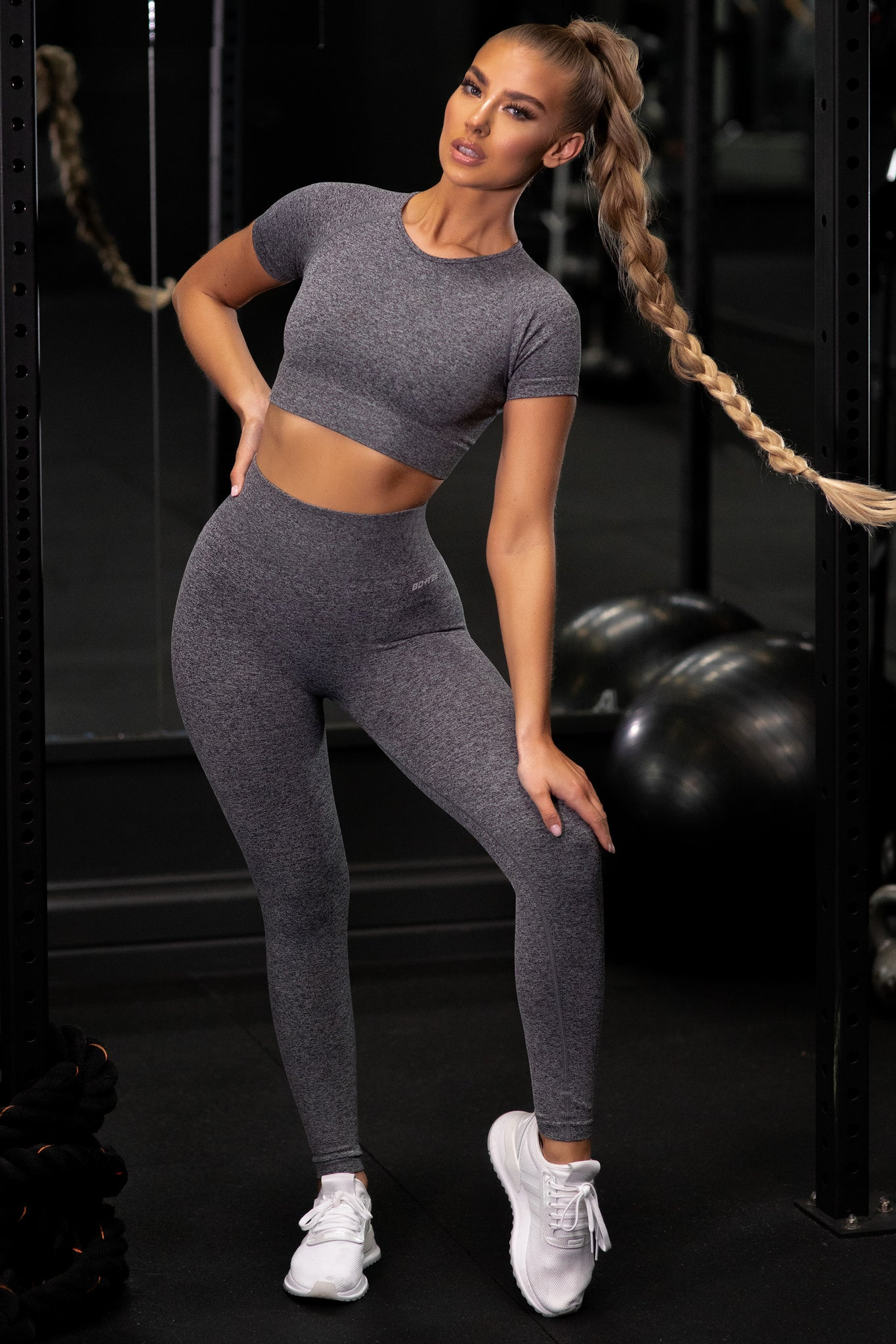 Plain black marl petite seamless high waisted full length gym leggings. Image 1 of 6.
