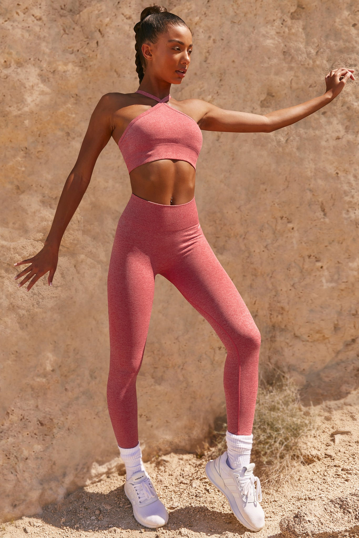 Plain coral marl petite seamless high waisted full length gym leggings. Image 2 of 6.