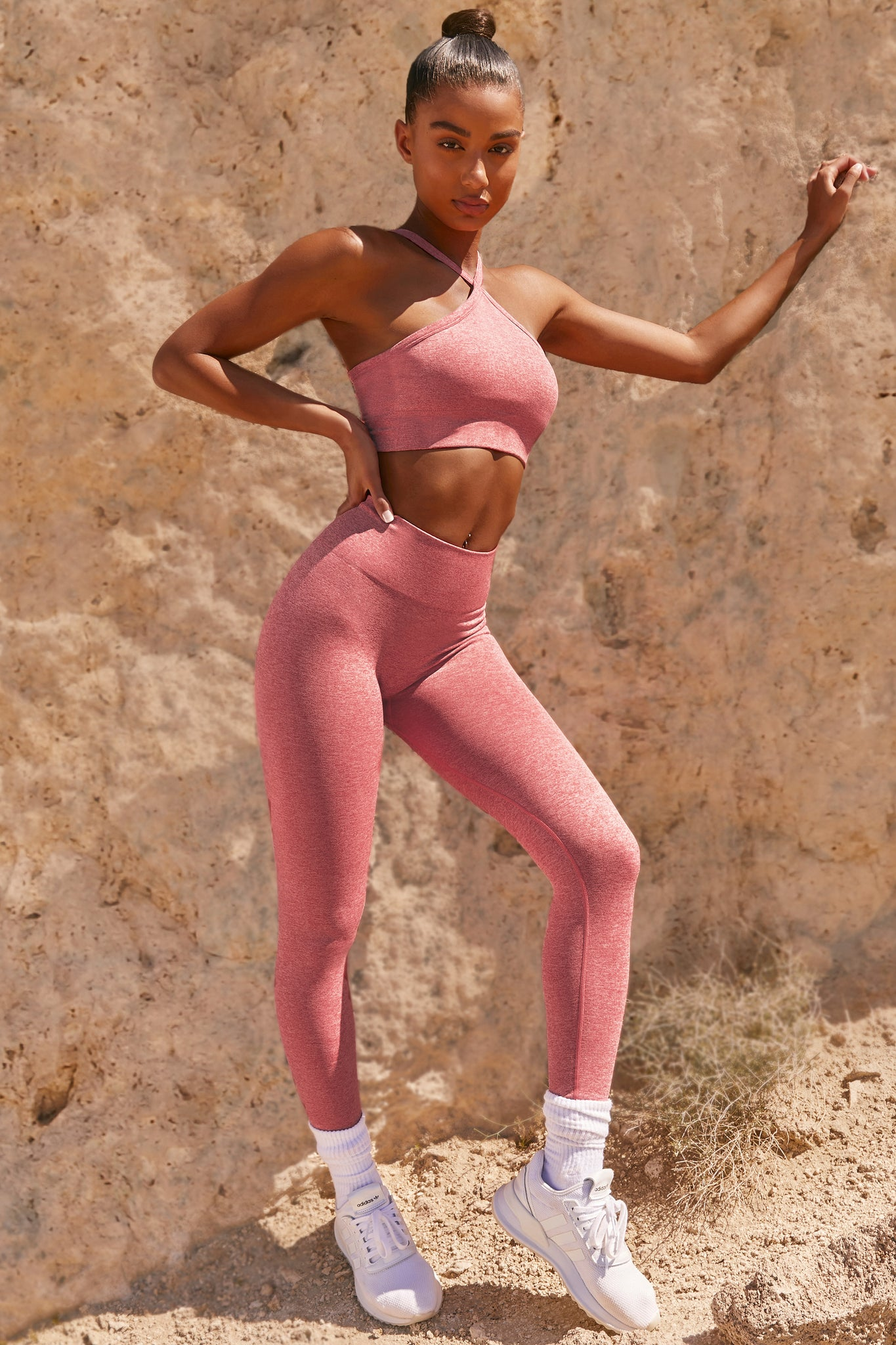 Plain coral marl petite seamless high waisted full length gym leggings. Image 1 of 6.