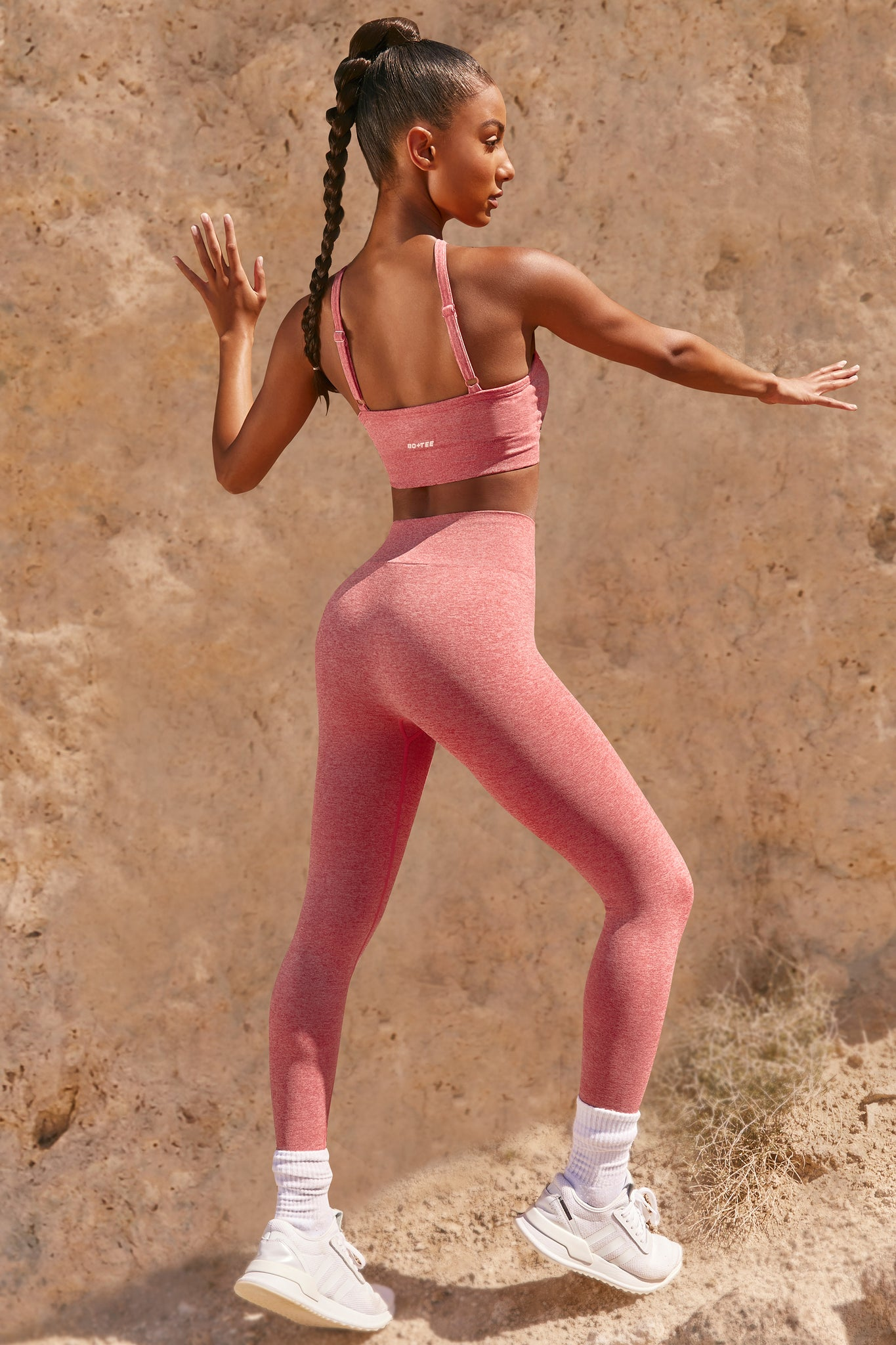 Plain coral marl seamless high waisted full length gym leggings. Image 3 of 6.