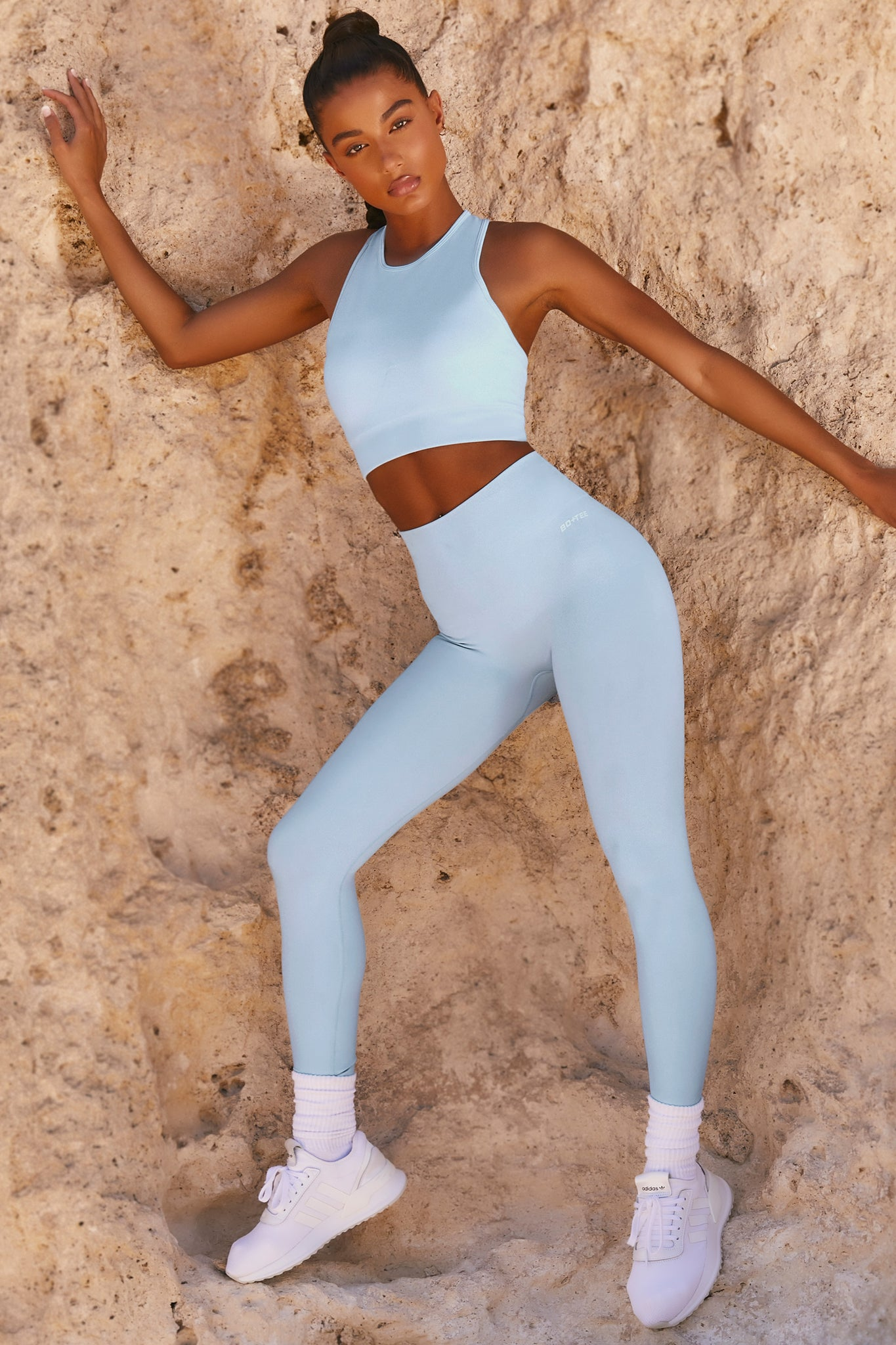 Plain light blue seamless high waisted full length gym leggings. Image 1 of 6.