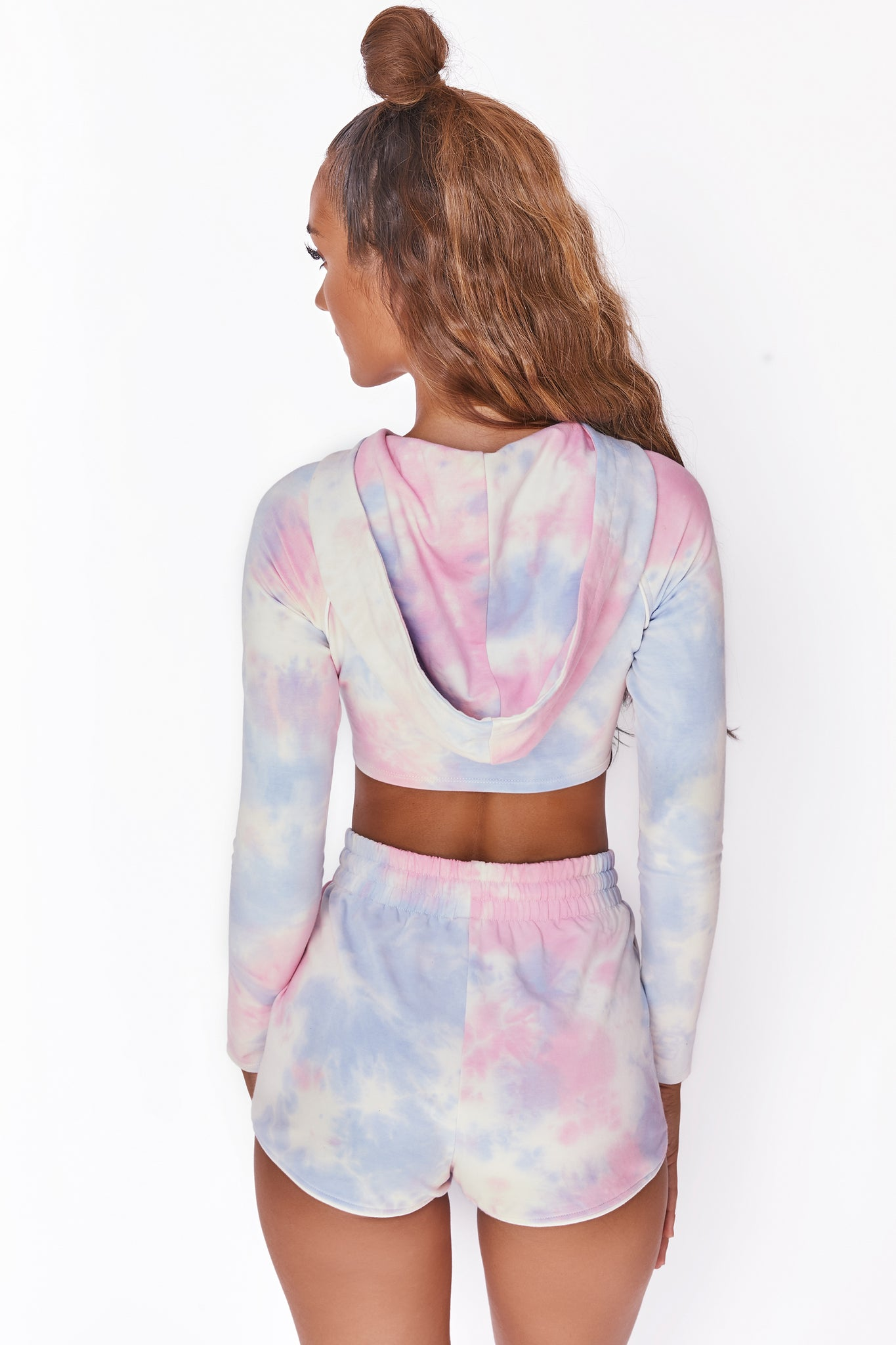 Tie dye long sleeve cropped hoodie with ruched centre and drawstring tie. Image 3 of 6.