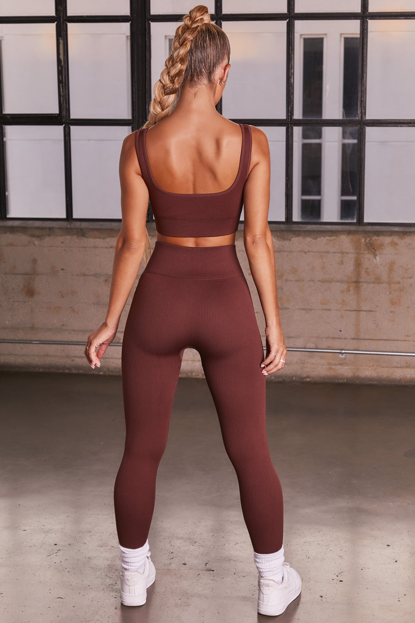 Dark Brown ribbed full length high waisted leggings. Image 3 of 6.