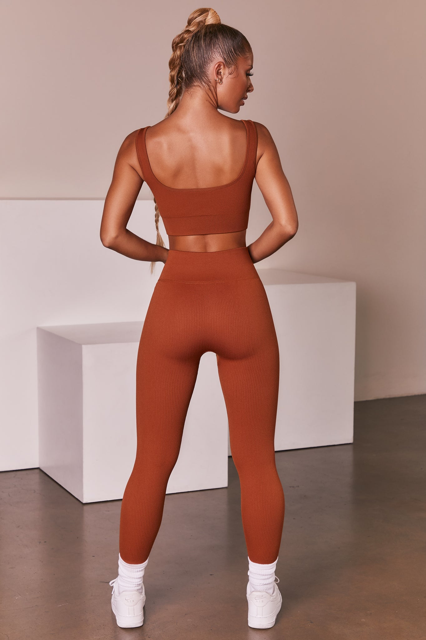 Light Brown ribbed full length high waisted leggings. Image 3 of 6.