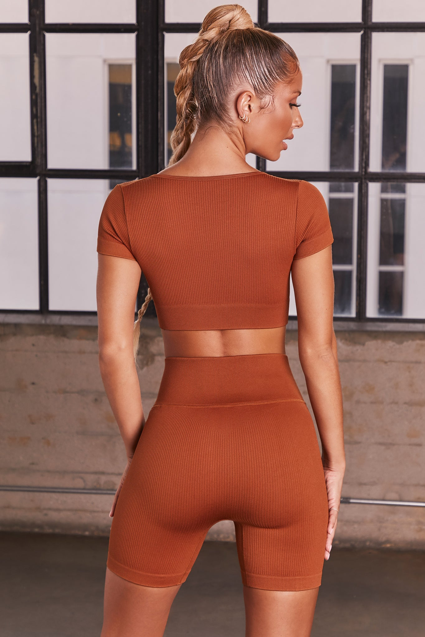 Light Brown ribbed high waisted cycling shorts. Image 3 of 6.
