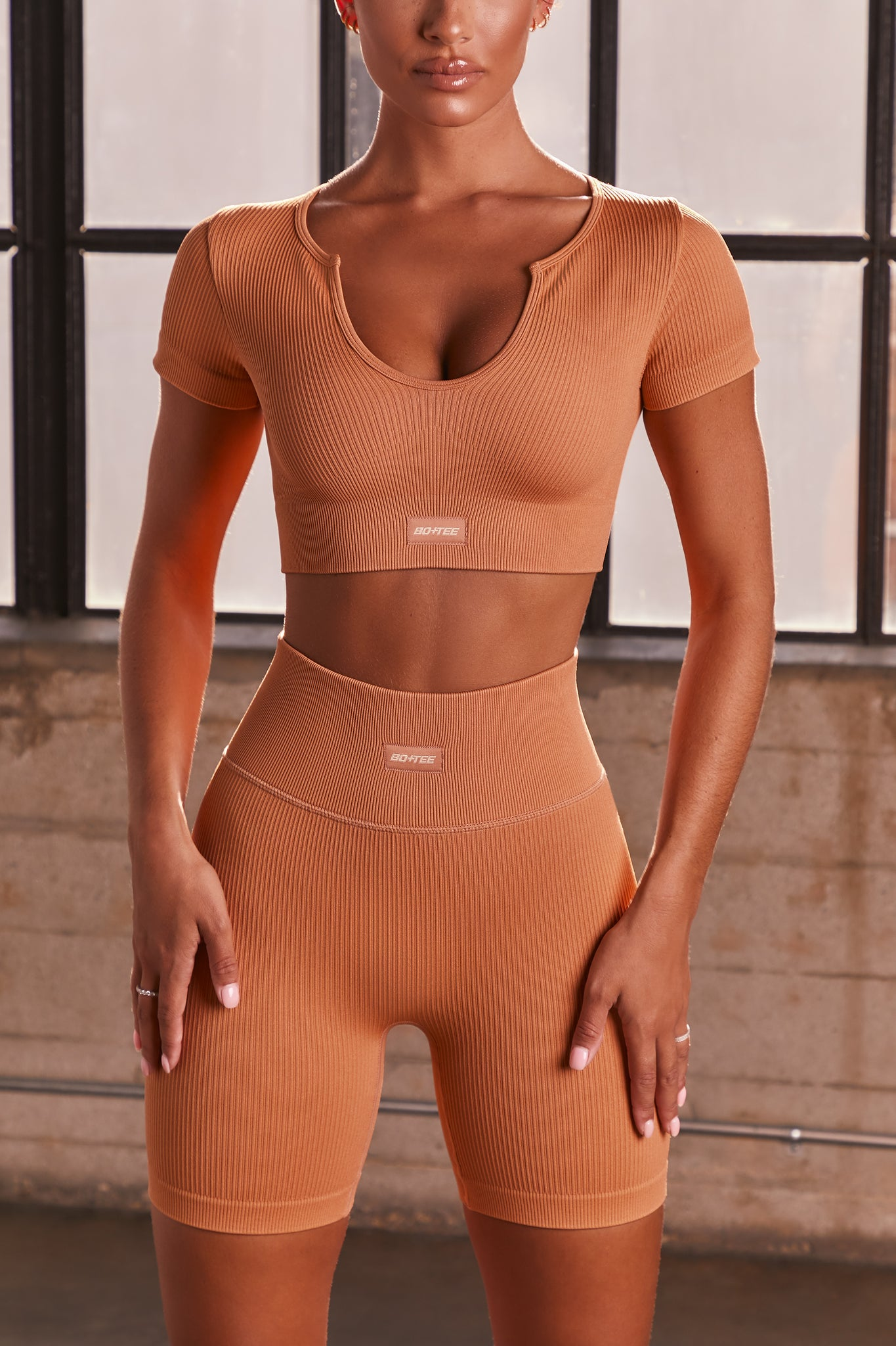 Caramel ribbed short sleeve notch neck crop top. Image 1 of 6.