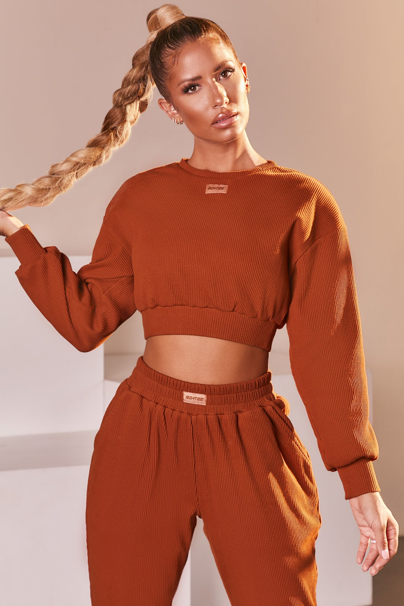Light Brown ribbed long sleeve cropped sweatshirt. Image 1 of 6.