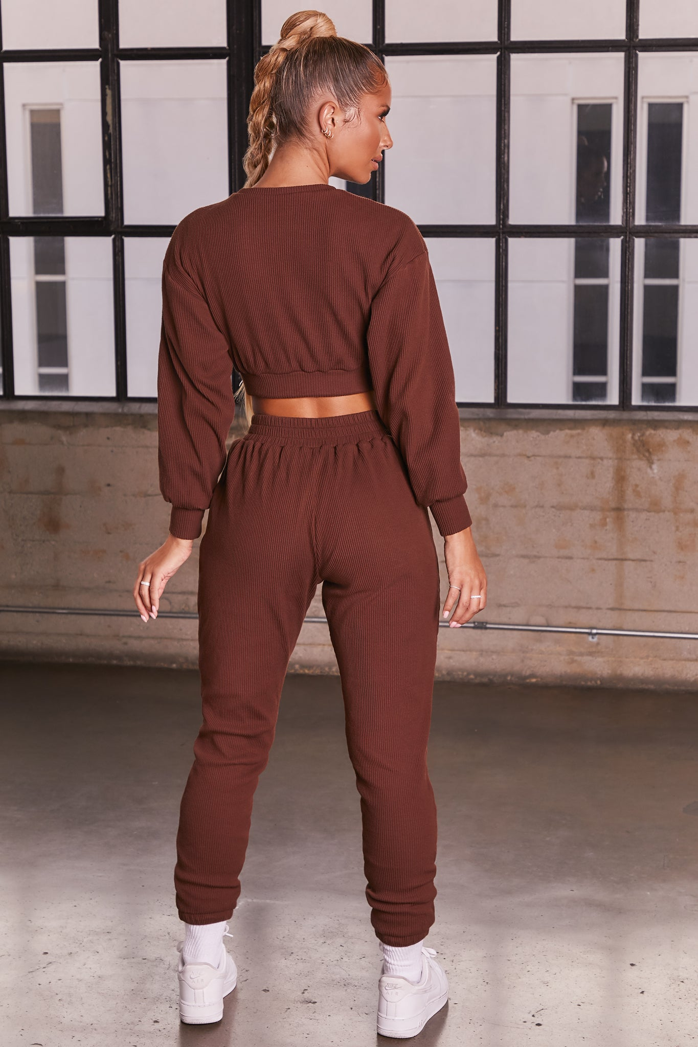 Dark Brown ribbed long sleeve cropped sweatshirt. Image 3 of 6.