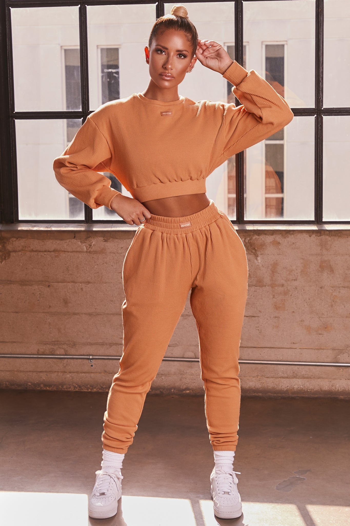 Caramel ribbed full length cuffed joggers. Image 1 of 6.