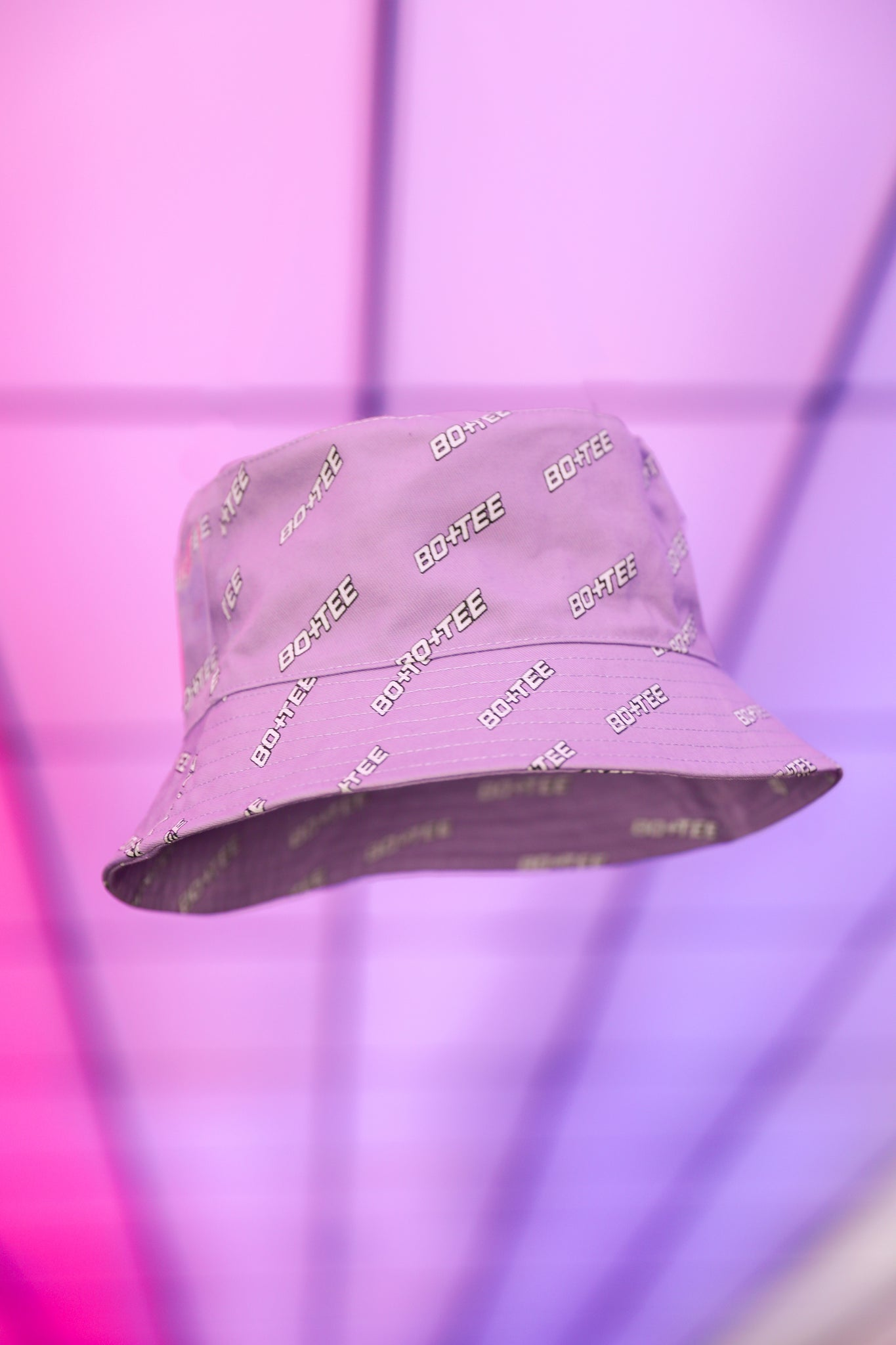 Lilac monogrammed bucket hat. Image 3 of 6.