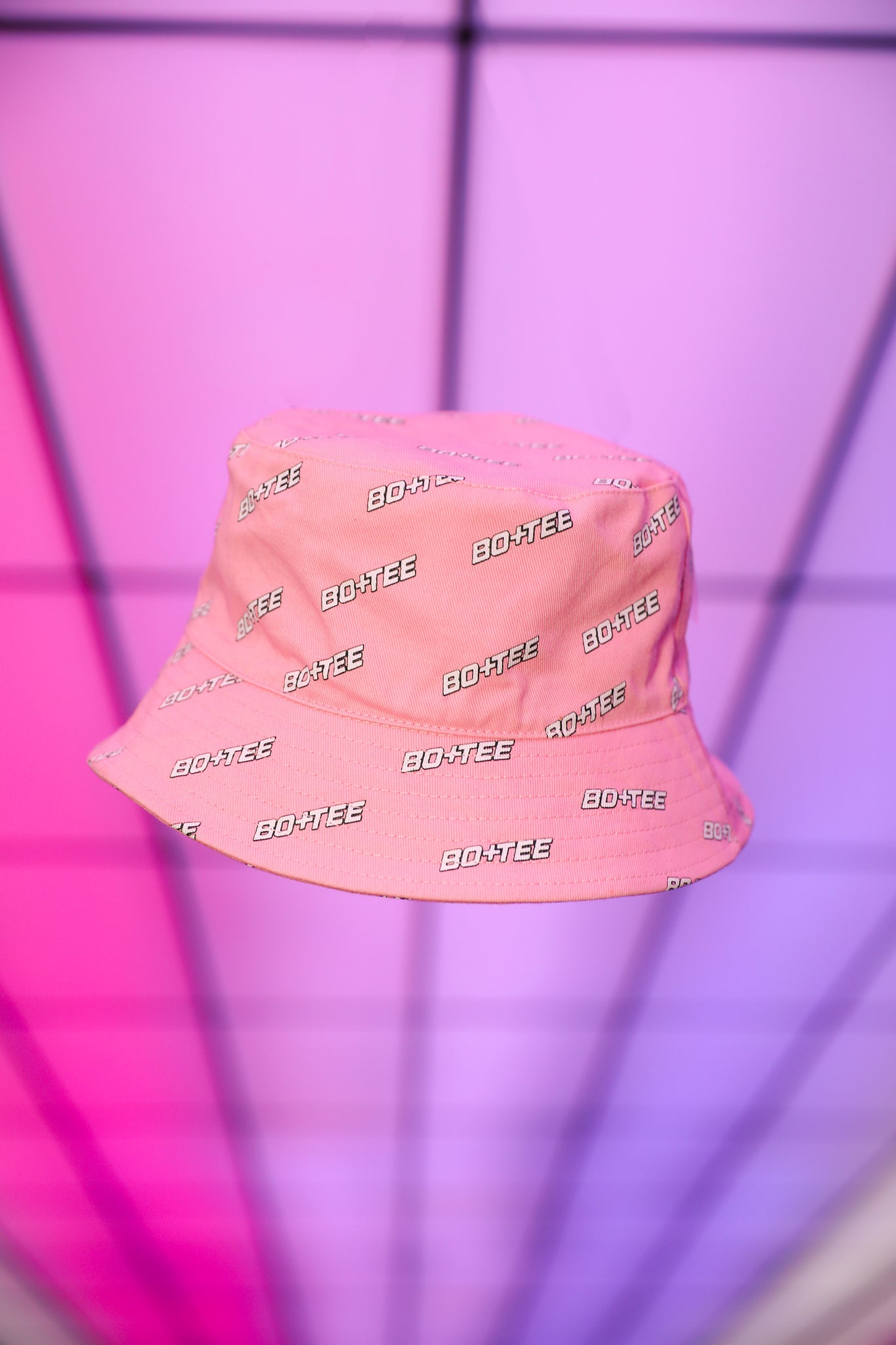 Pink monogrammed bucket hat. Image 3 of 6.
