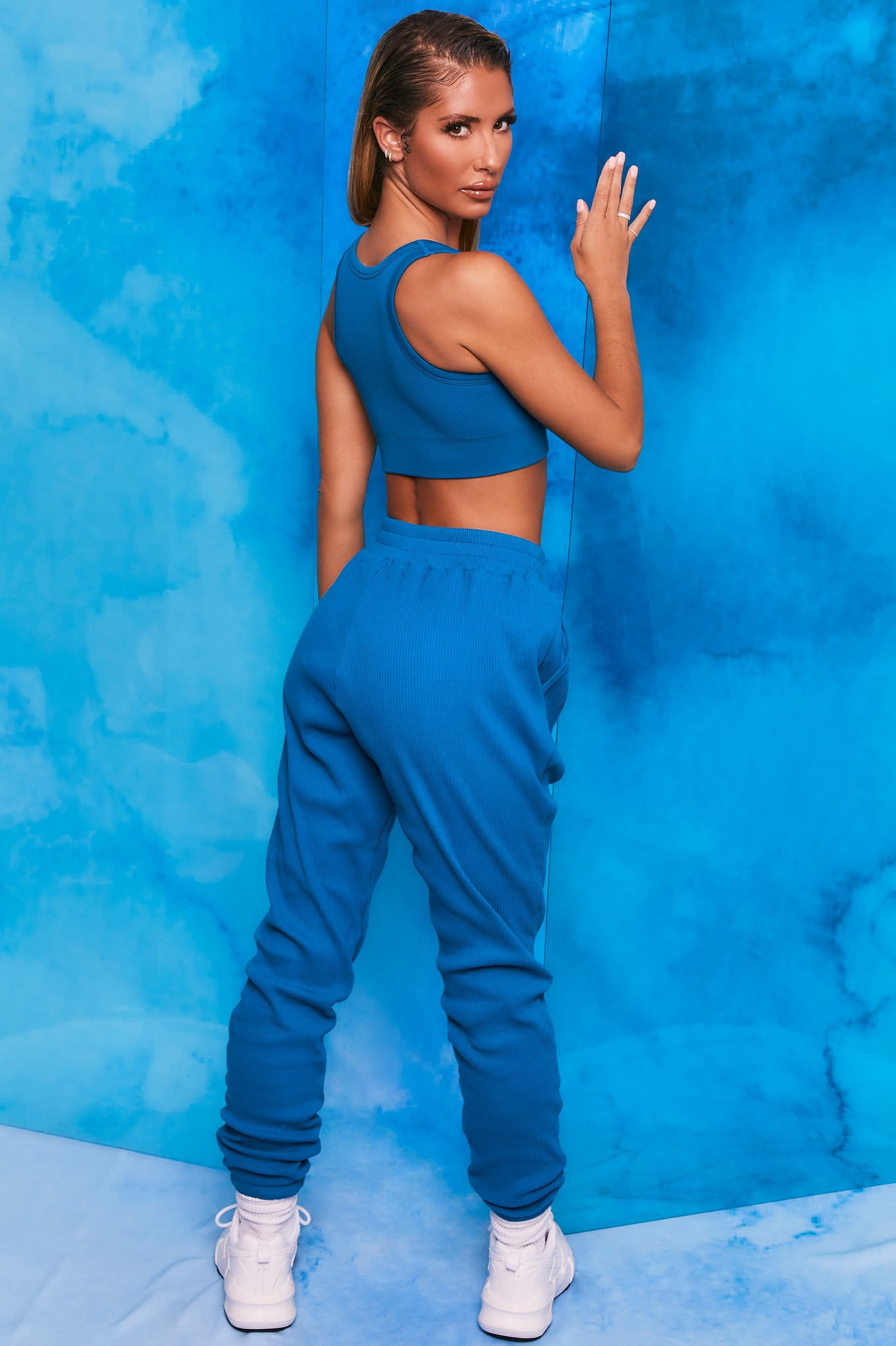 Blue ribbed full length cuffed joggers. Image 3 of 6.