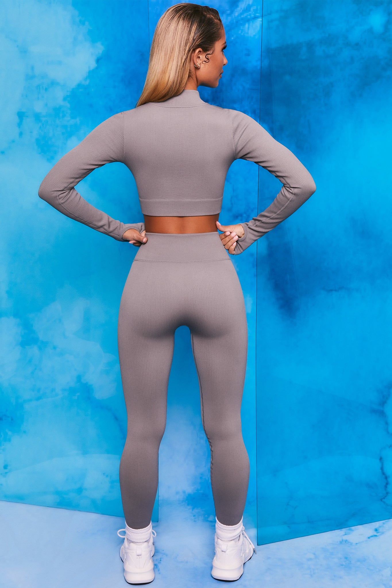 Plain grey ribbed high neck crop top with zip front and long sleeves. Image 3 of 6