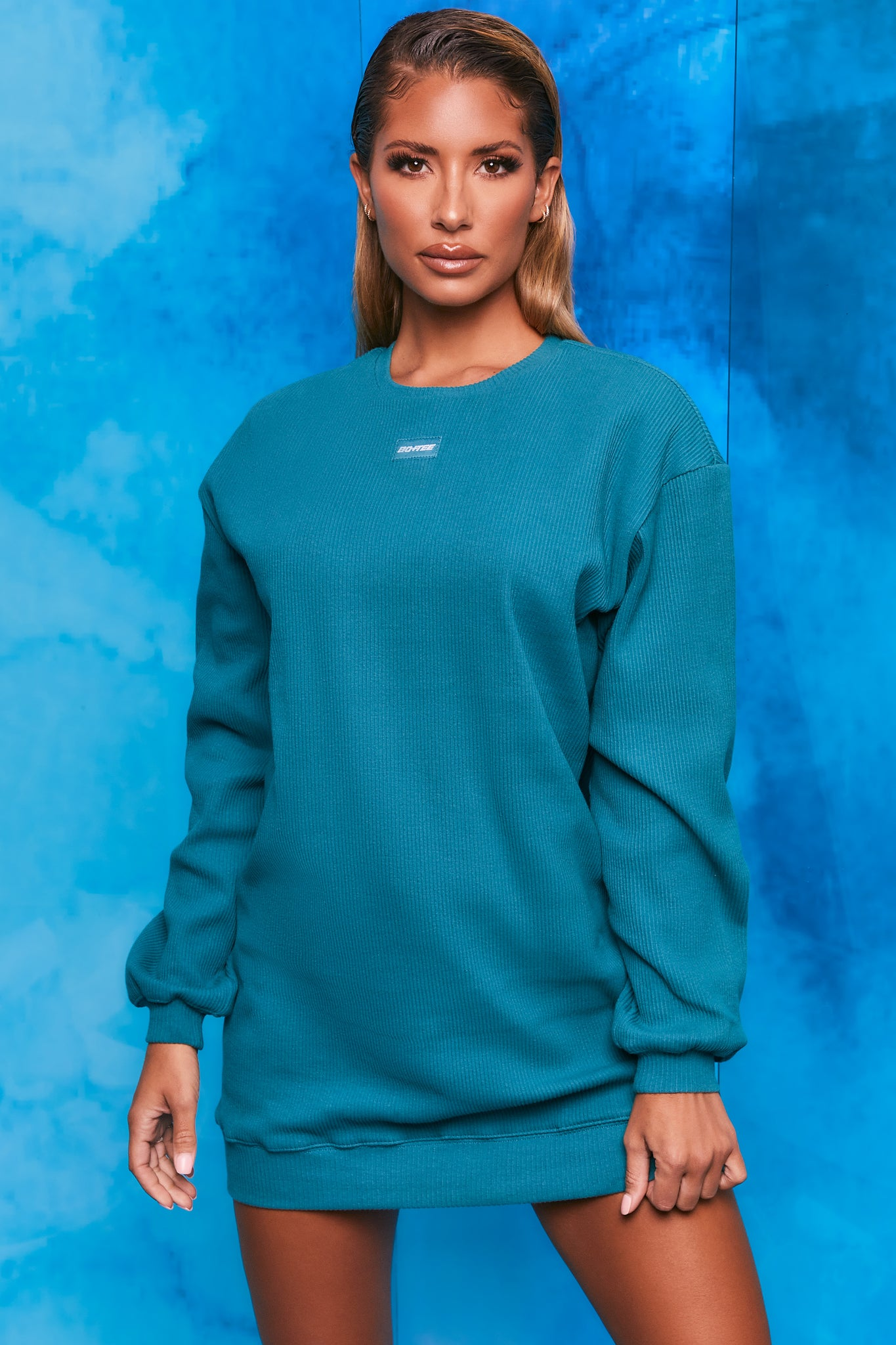 Plain teal ribbed oversized sweatshirt with long sleeves. Image 1 of 6.