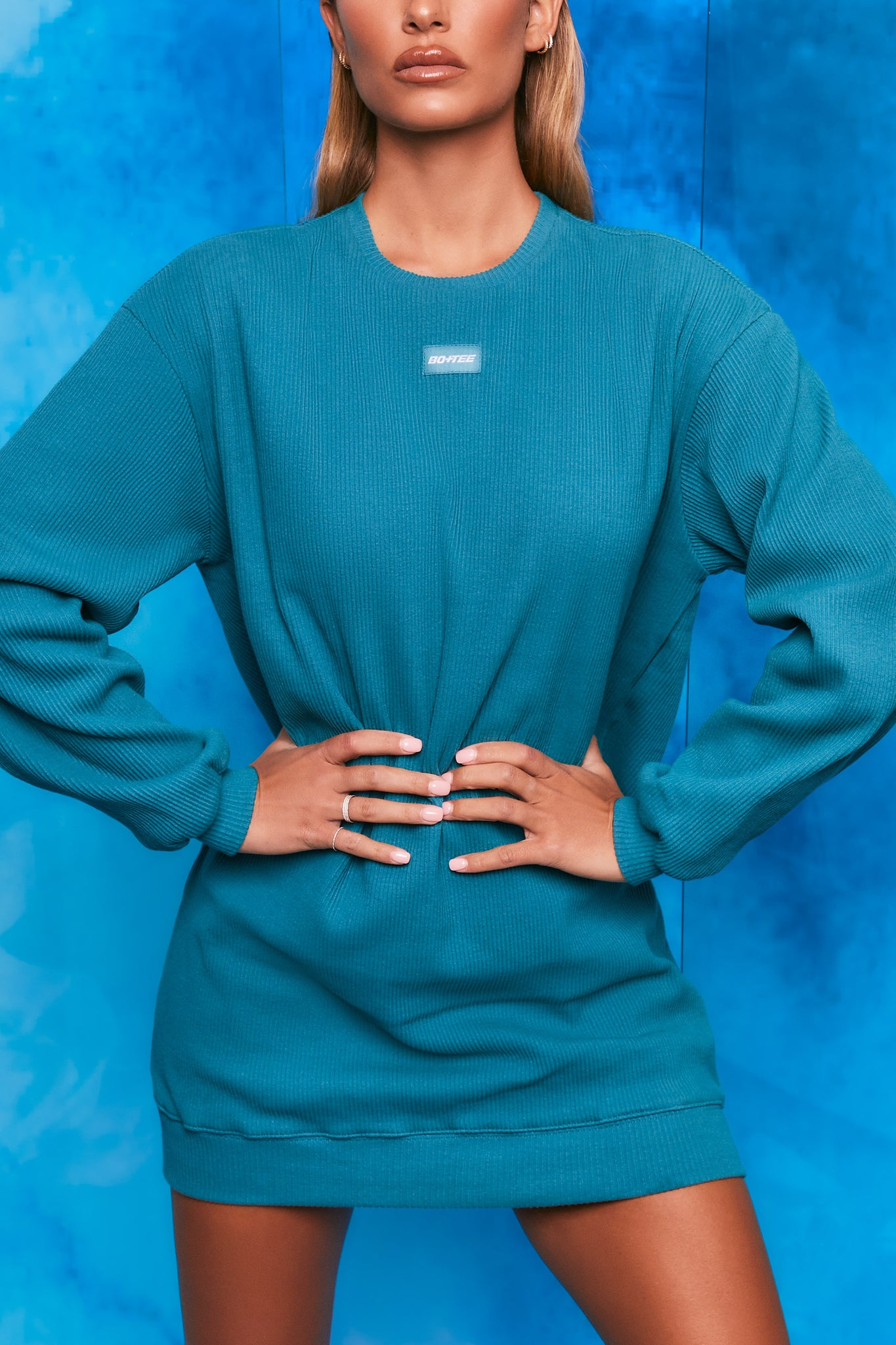 Plain teal ribbed oversized sweatshirt with long sleeves. Image 5 of 6.