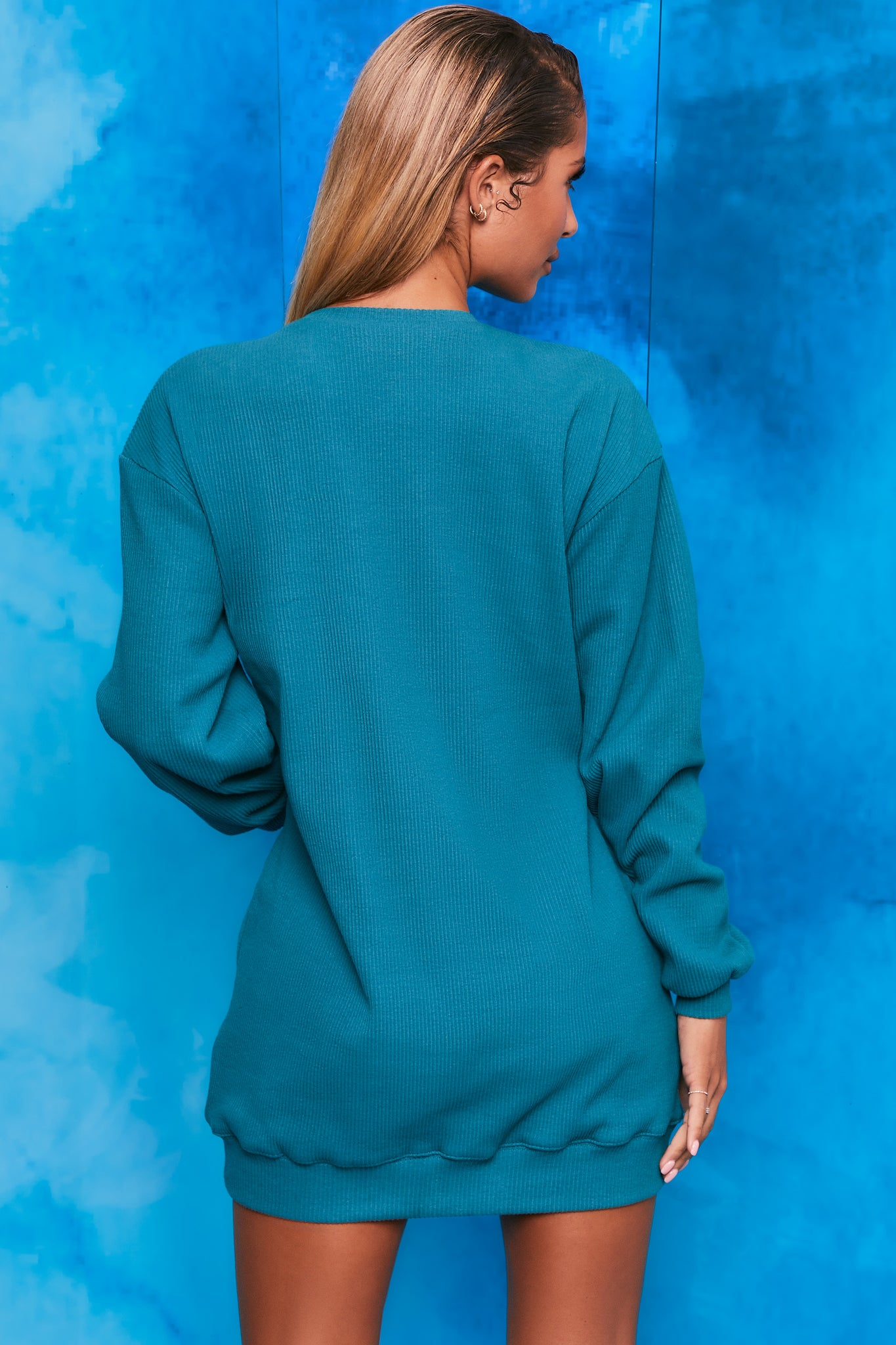 Plain teal ribbed oversized sweatshirt with long sleeves. Image 3 of 6.