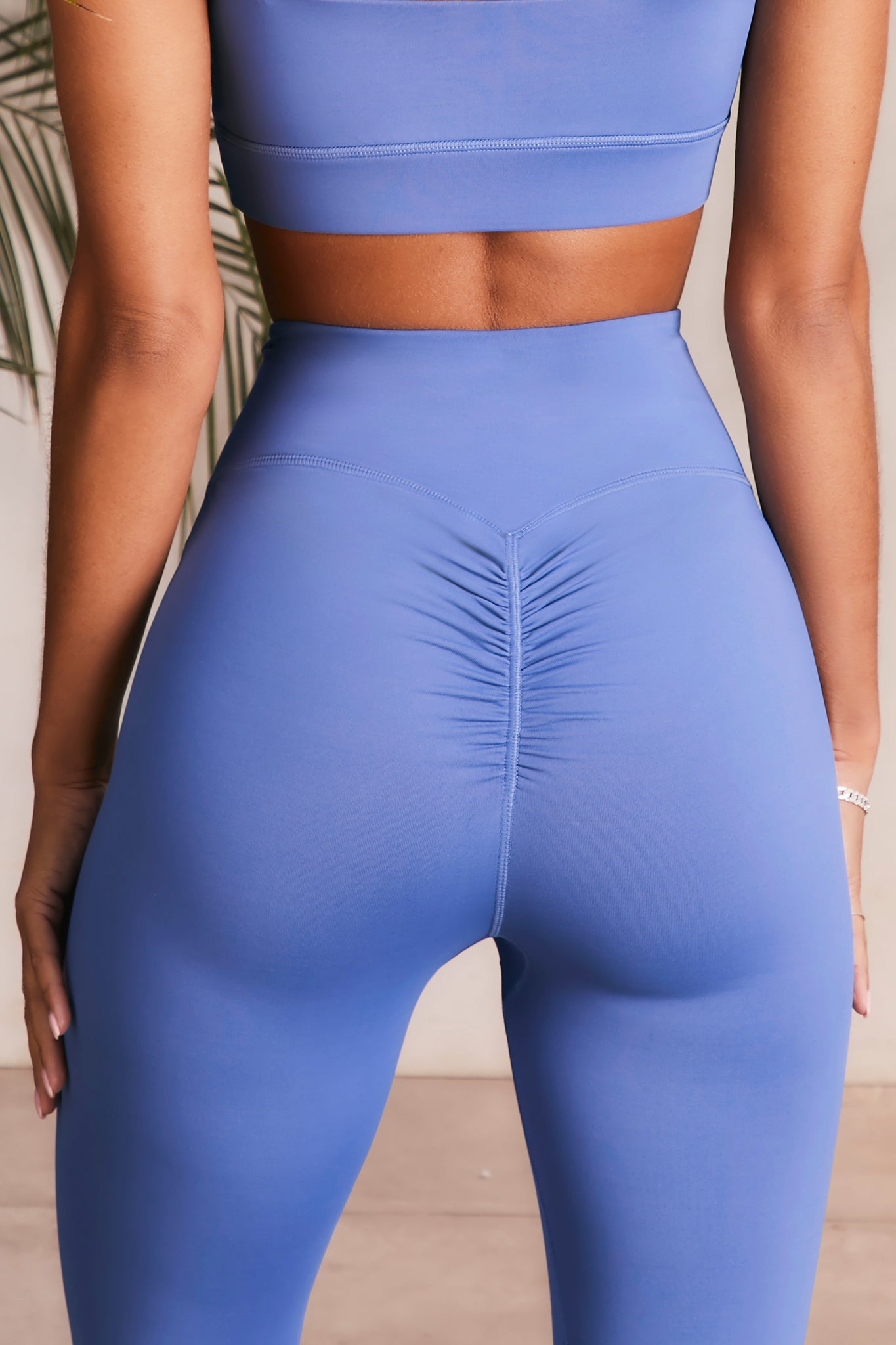 Slinky leggings in blue violet with ruched rear. Image 3 of 6