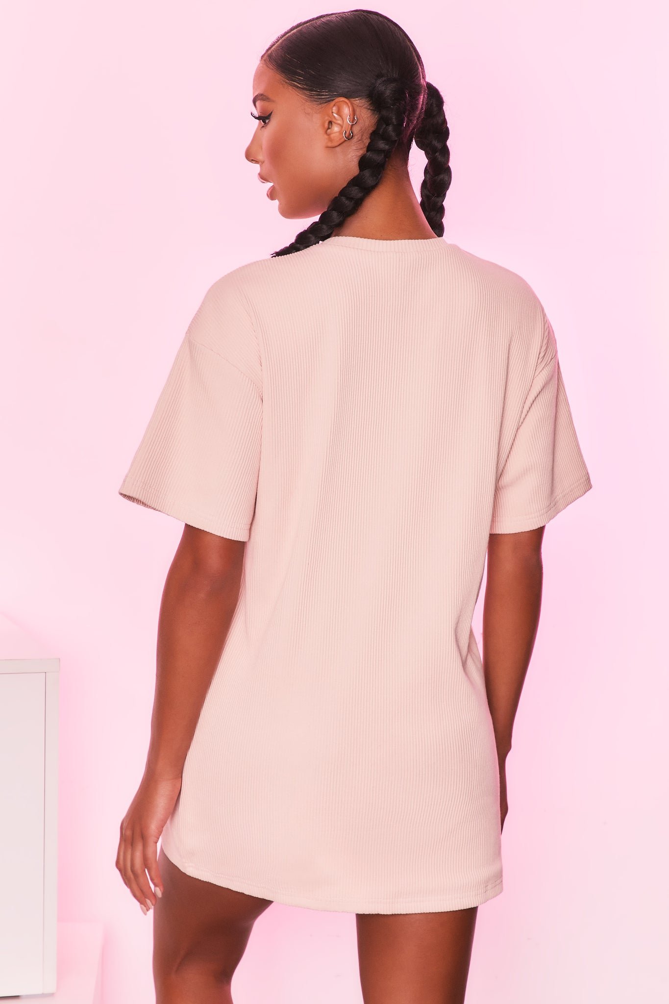 Round neck short sleeve oversized ribbed t-shirt in cream. Image 3 of 6.