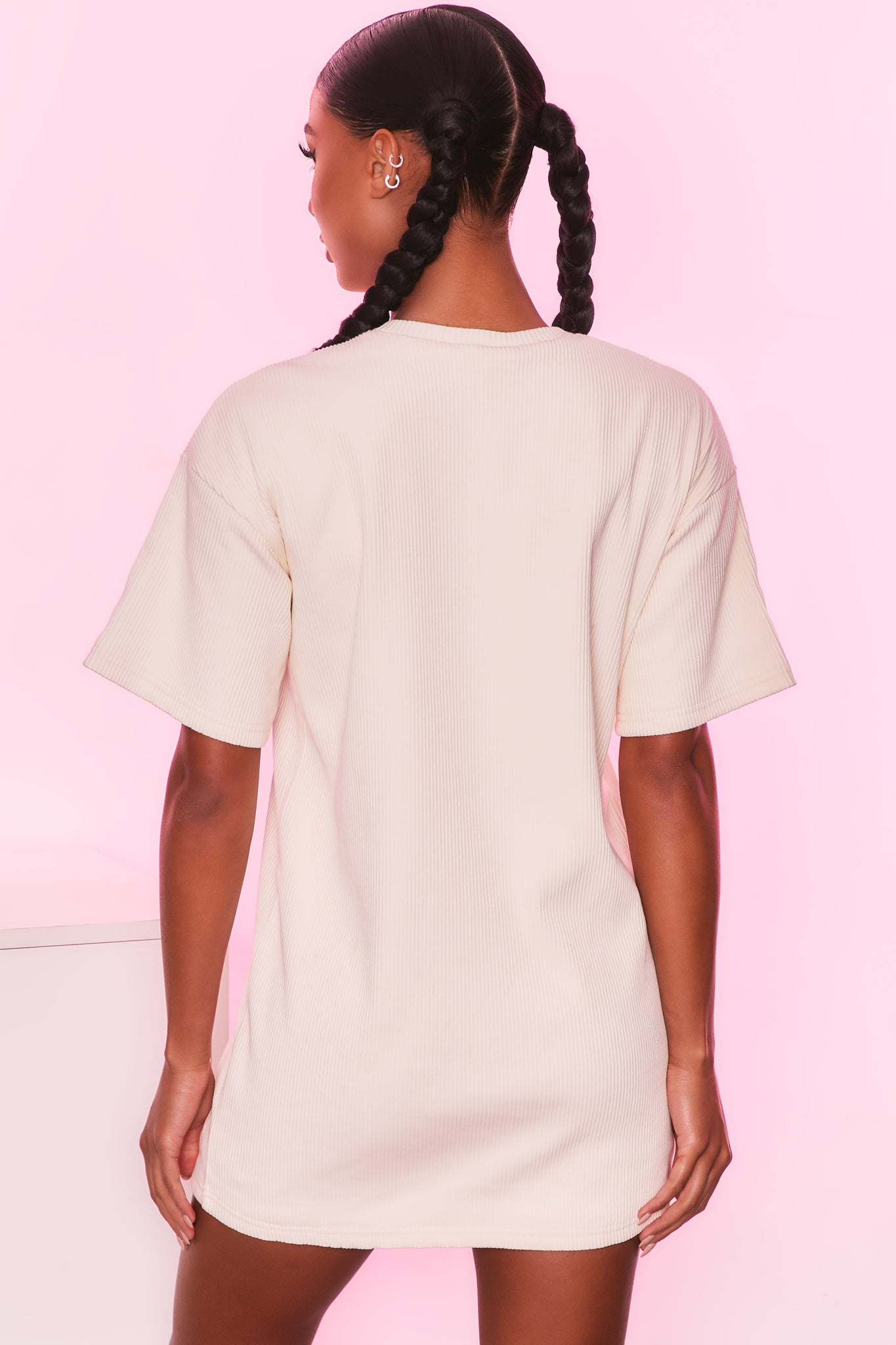 Round neck short sleeve oversized ribbed t-shirt in ivory. Image 3 of 6.