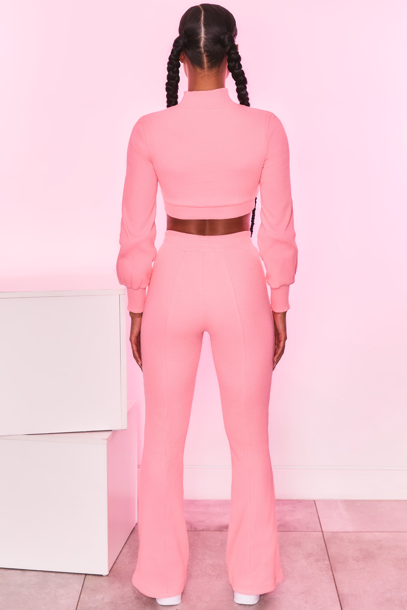 High neck long sleeve cropped jacket in coral. Image 3 of 6.