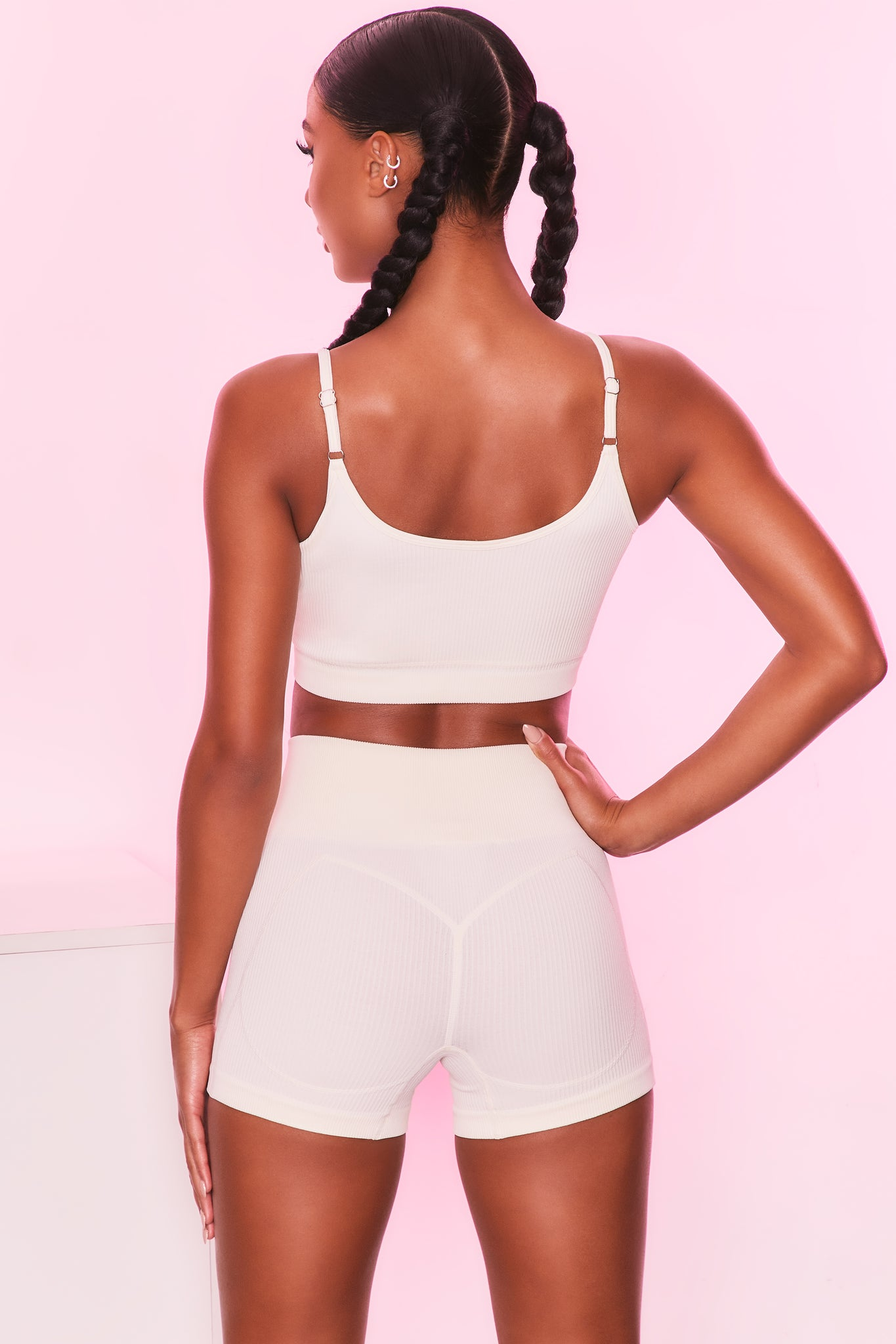Ribbed longline vest top in ivory with scoop back. Image 3 of 6.