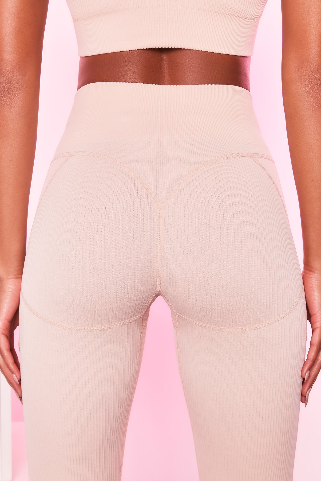 High waisted ribbed leggings in cream with seam detailing. Image 3 of 6.