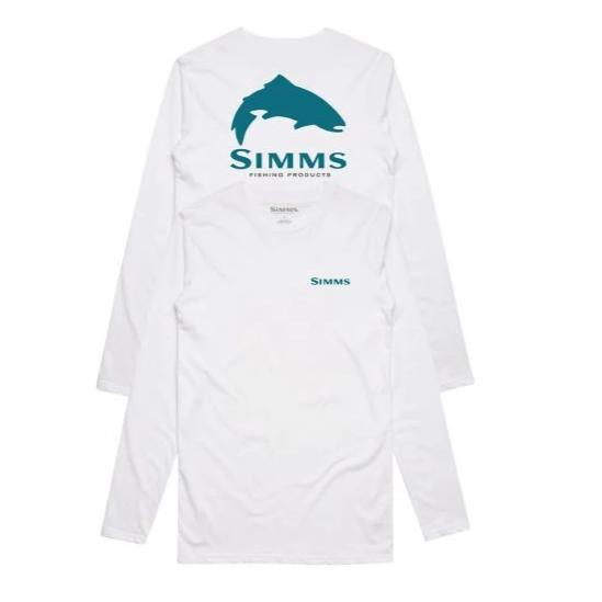 Simms Trout Logo Ls Tech Tee White