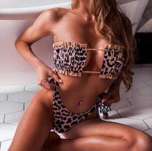 Load image into Gallery viewer, NICO ruched strapless cheetah bikini - Cinge Swimwear