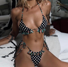 Load image into Gallery viewer, NADIA polka dot fringe bikini - Cinge Swimwear