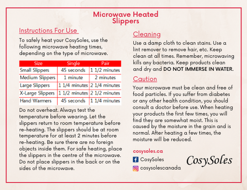 CosySoles Microwave Heated Slippers - Instructions For Use