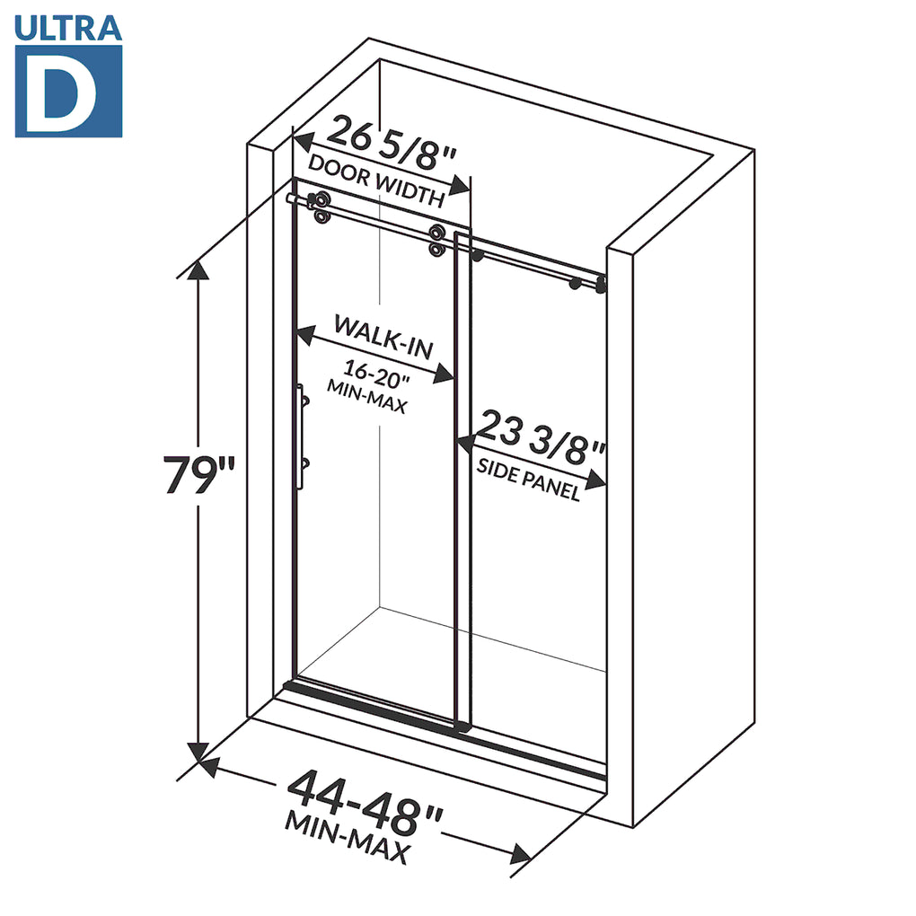 Sliding Shower Door with Stationary Panel 44-48W 79H Ultra D Brushed Nickel